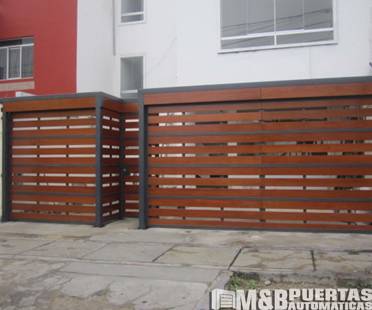 Puertas de garaje en madera tipo reja m b puertas - Tipos de madera para puertas ...
